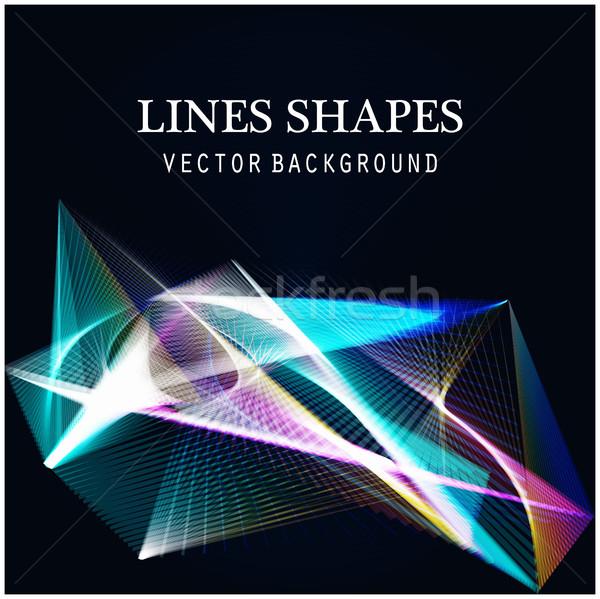 Linhas formas luz abstrato azul escuro Foto stock © cosveta