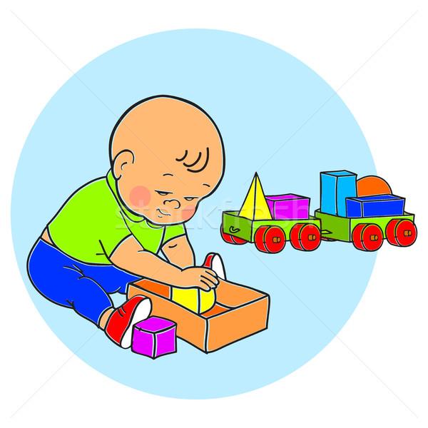 Pequeno bebê menino jogar brinquedos criança Foto stock © cosveta