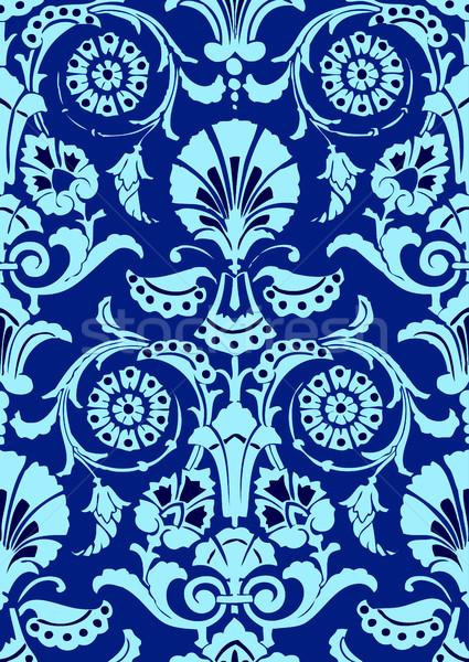 Niebieski bezszwowy streszczenie kwiatowy wzór vintage Zdjęcia stock © cosveta