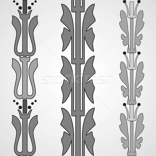 Vintage decorative set monochrome floral pattern seamless vertic Stock photo © cosveta