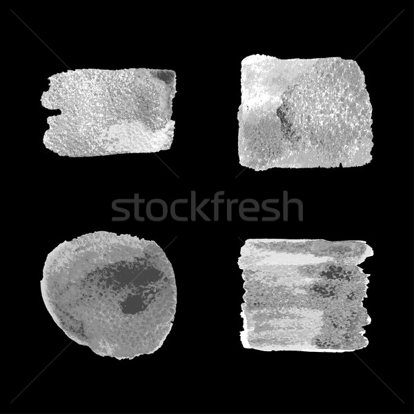 Vector silver paint smear stroke stain set on black background.  Stock photo © cosveta