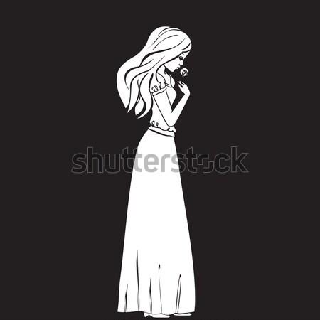 Gyönyörű fiatal nők divat hosszú ruha fényes Stock fotó © cosveta