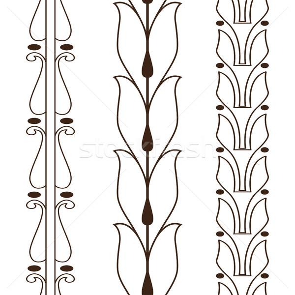 Klasszikus dekoratív szett skicc fekete virágmintás Stock fotó © cosveta
