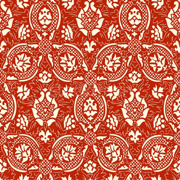 Foto stock: Rojo · encaje · sin · costura · resumen · floral · patrón