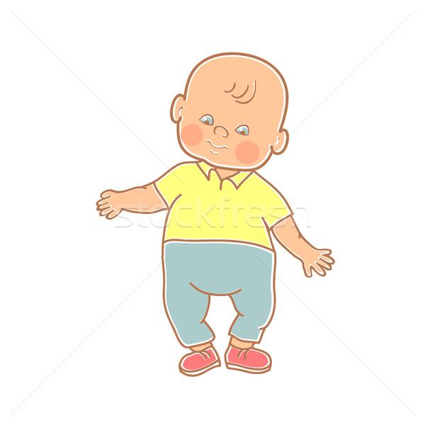 Peu bébé garçon permanent coloré art Photo stock © cosveta