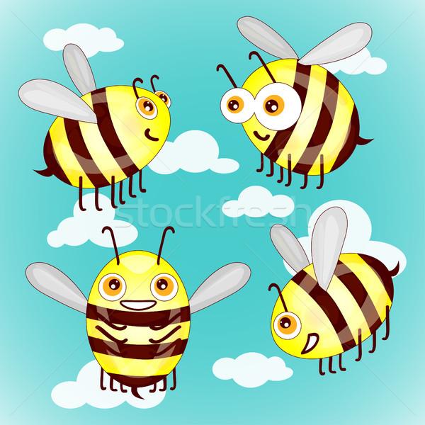 Сток-фото: набор · Cartoon · Cute · пчел · небе · облака