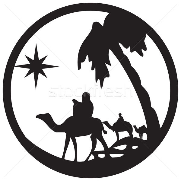 Adoration of the Magi silhouette icon vector illustration on whi Stock photo © cosveta