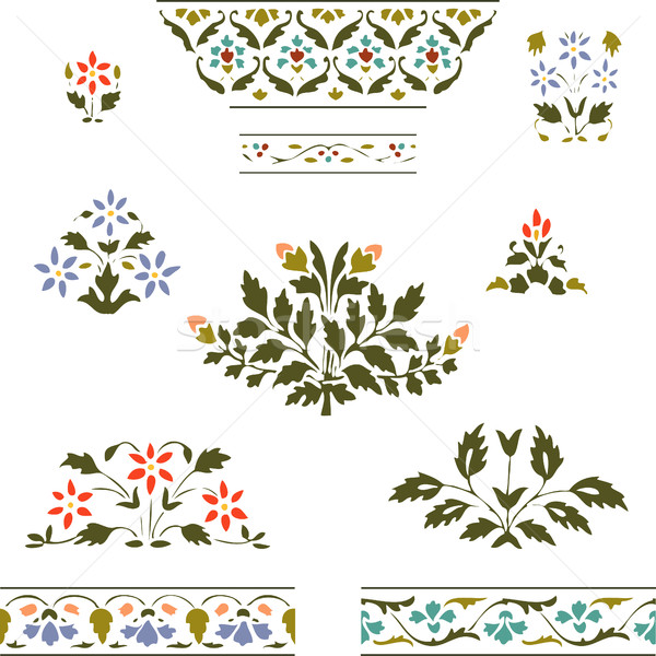 Stock photo: Vector illustration color set blooming plant and border floral on white background