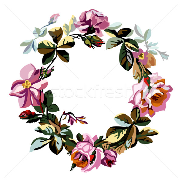 Vector hand drawn sketch floral of wreath with roses Stock photo © cosveta
