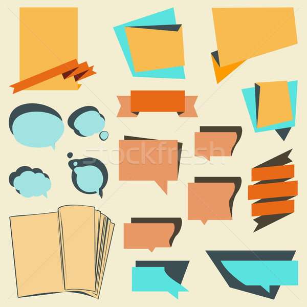 Vector set announcement banner, stickers and labels with ribbons Stock photo © cosveta