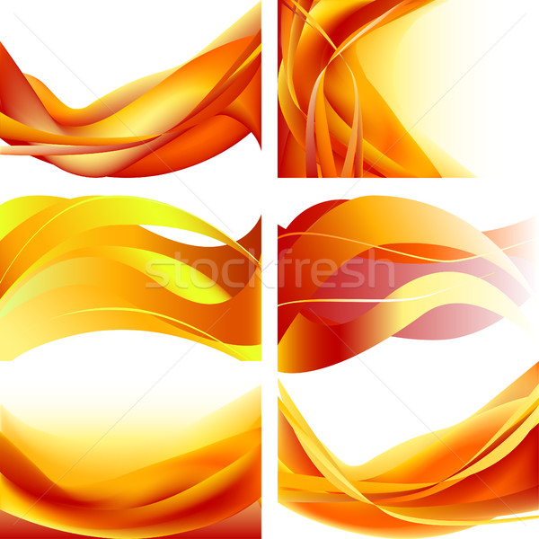 Stock photo: set fire waves abstract background