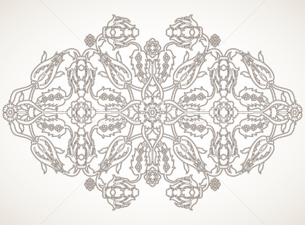 Vintage element schets ontwerpsjabloon vector for Arabesque style decoration