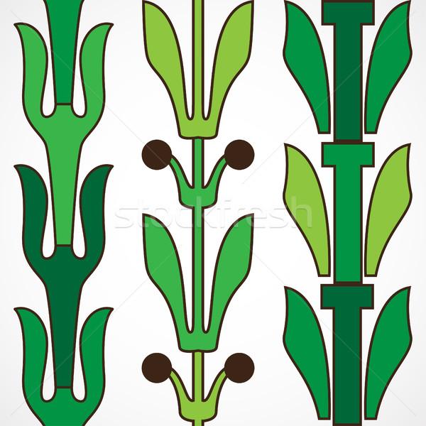 Foto stock: Vintage · decorativo · establecer · verde · floral · patrón