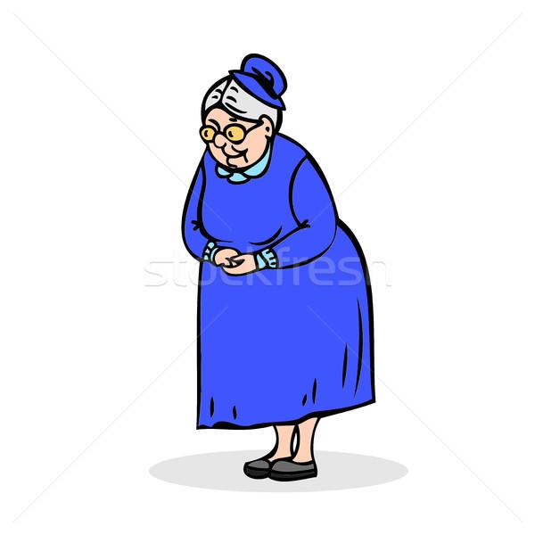 пожилого Lady очки бабушки Постоянный сложенный Сток-фото © cosveta