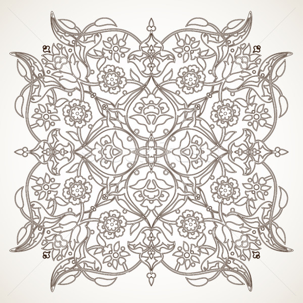 Arabesque vintage outline floral decoration print for design tem Stock photo © cosveta