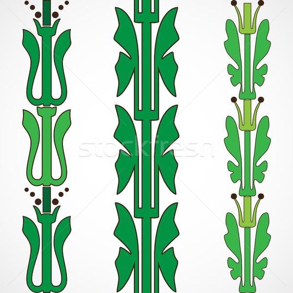 Vintage dekoracyjny zestaw zielone kwiatowy wzór Zdjęcia stock © cosveta