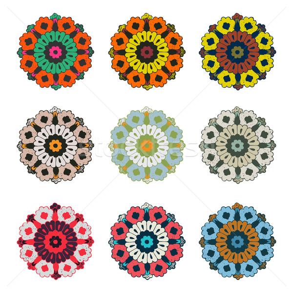 Vector round colorful flower vintage set, circle background, lacy arabesque  Stock photo © cosveta