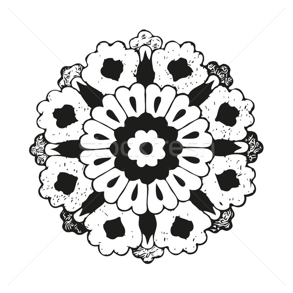 Vector round oriental flower vintage, circle background, lacy arabesque  Stock photo © cosveta