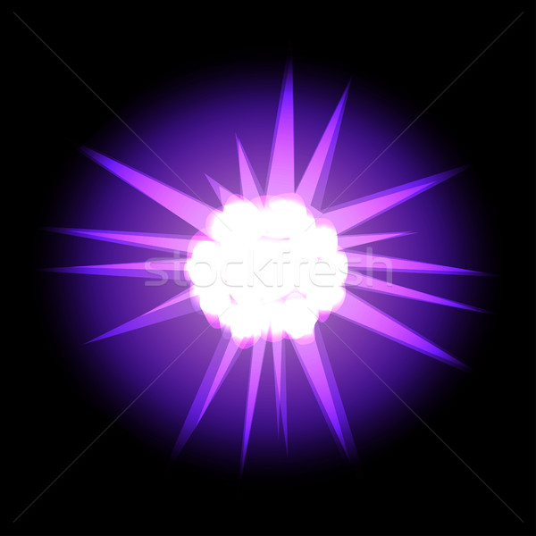 Star with rays white purple in space cosmos isolated on black ba Stock photo © cosveta