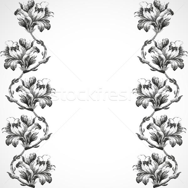 Verticale confine fiori giglio vintage Foto d'archivio © cosveta