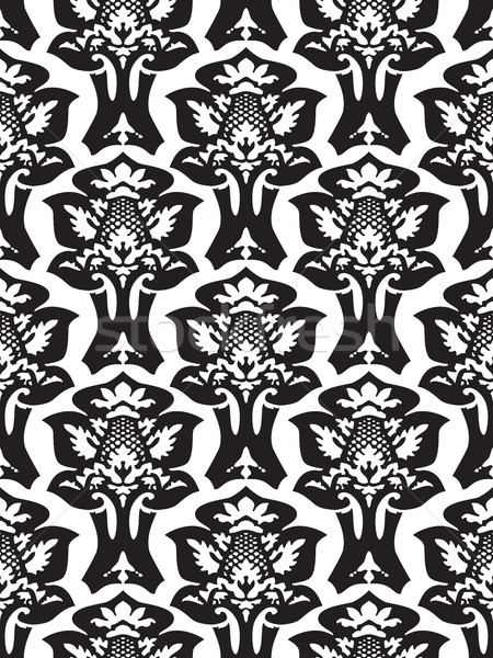 Wektora adamaszek bezszwowy kwiatowy wzór czarno białe Zdjęcia stock © cosveta