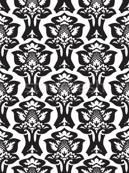 Vector damasc fara sudura model negru alb Imagine de stoc © cosveta