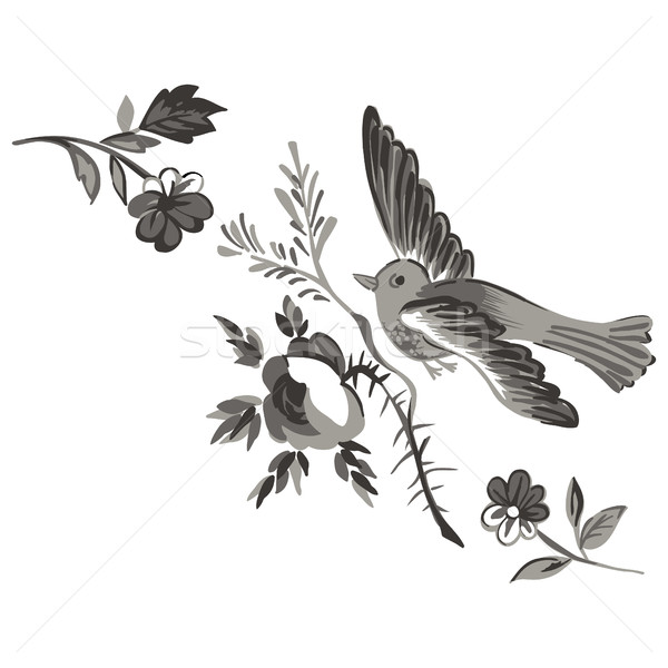 Flying bird with branch of a rose isolated on white, diagonal el Stock photo © cosveta
