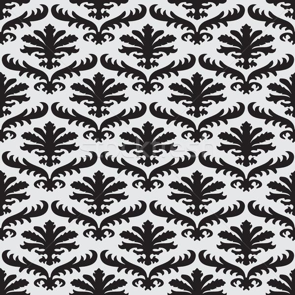 Vektor damaszt végtelenített virágmintás minta feketefehér Stock fotó © cosveta