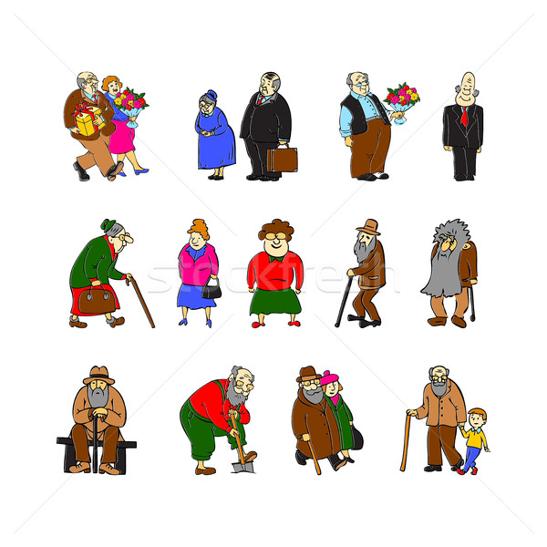 Pessoas conjunto branco cena idoso Foto stock © cosveta