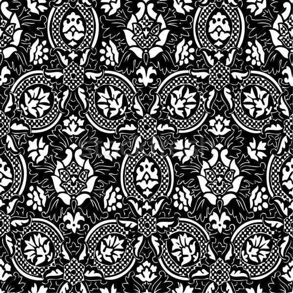 Black and white Seamless abstract hand-drawn floral pattern, vintage background. Seamless pattern ca Stock photo © cosveta