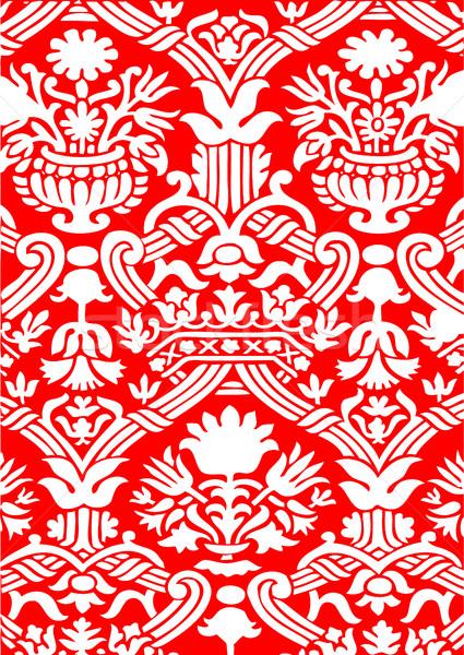 Rosso bianco senza soluzione di continuità abstract floreale pattern Foto d'archivio © cosveta
