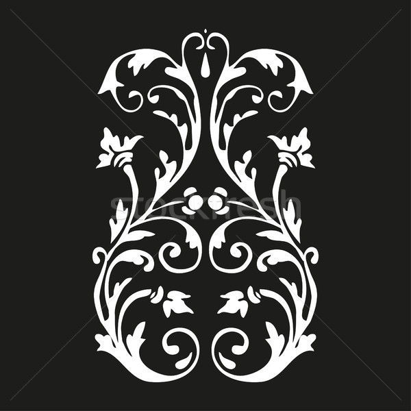 Vector vertical curled floral element on black background for design  Stock photo © cosveta