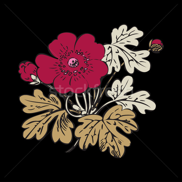 Floral arbusto retro preto vetor Foto stock © cosveta