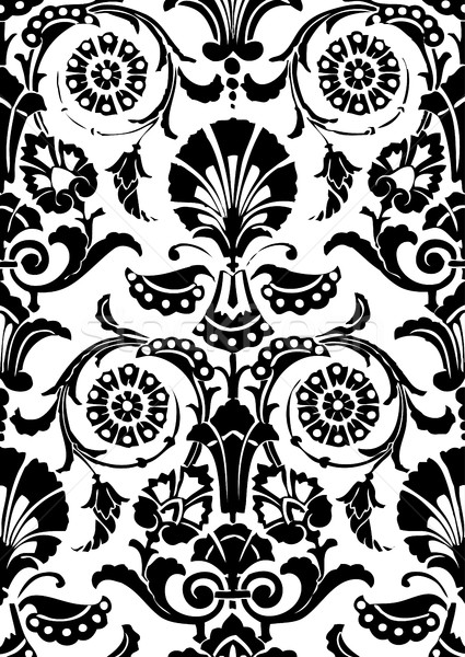 Czarno białe bezszwowy streszczenie kwiatowy wzór vintage Zdjęcia stock © cosveta