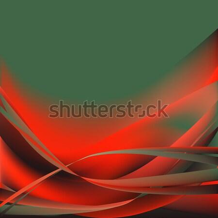 Photo stock: Coloré · vagues · isolé · résumé · vert · rouge