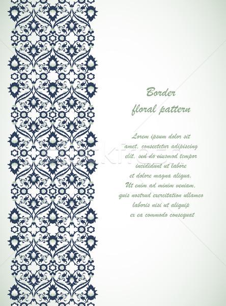 Csipke damaszt végtelenített keret virágmintás dekoráció Stock fotó © cosveta