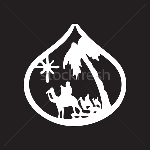 Adoration of the Magi silhouette icon vector illustration Stock photo © cosveta