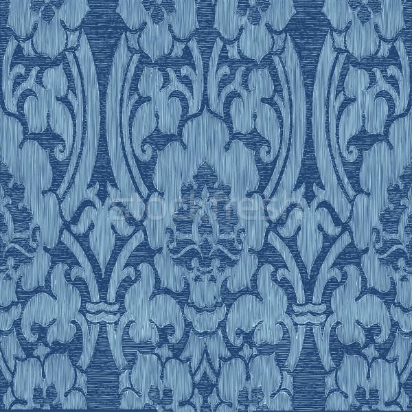 Bezszwowy niebieski streszczenie adamaszek pasiasty kwiatowy Zdjęcia stock © cosveta