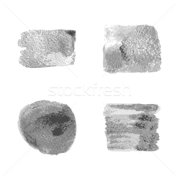 Vector silver paint smear stroke stain set on white background.  Stock photo © cosveta