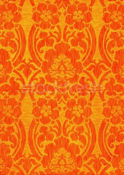 Amarillo rojo resumen a rayas floral patrón Foto stock © cosveta
