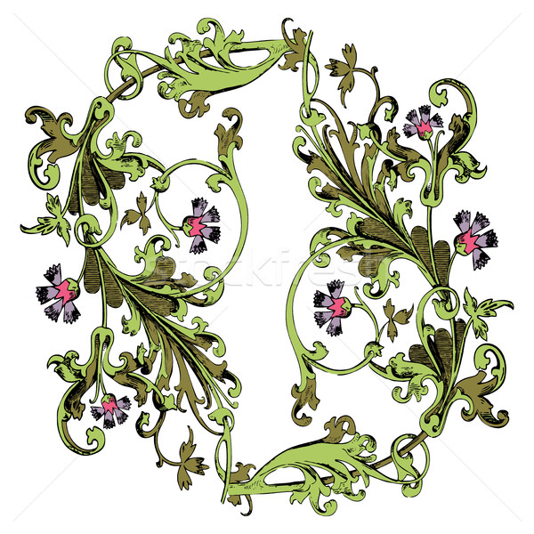 Hand drawn illustration of twig with flowers and leaves Baroque  Stock photo © cosveta