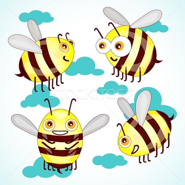 Foto stock: Establecer · Cartoon · cute · abejas · cielo · nubes