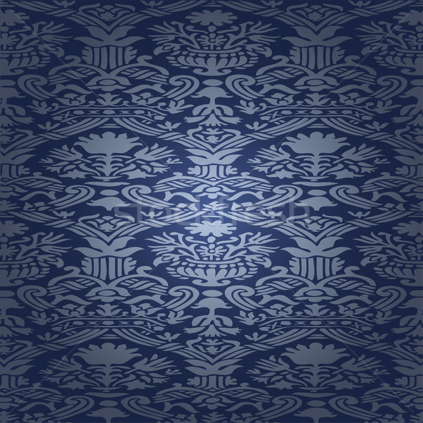 Blue silk Seamless abstract hand-drawn floral pattern, vintage background. Seamless pattern can be u Stock photo © cosveta