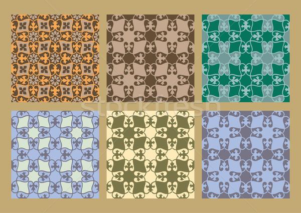 Színes pasztell szett végtelenített virágmintás minták Stock fotó © cosveta
