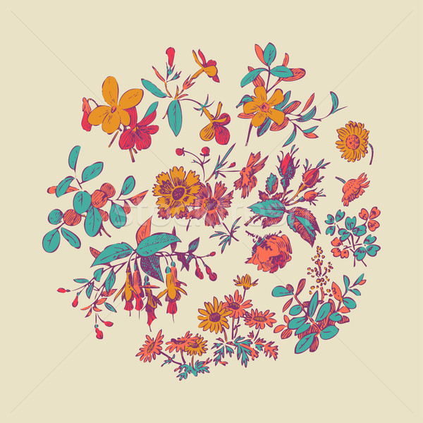 Legelő virág levél koszorú izolált bézs Stock fotó © cosveta