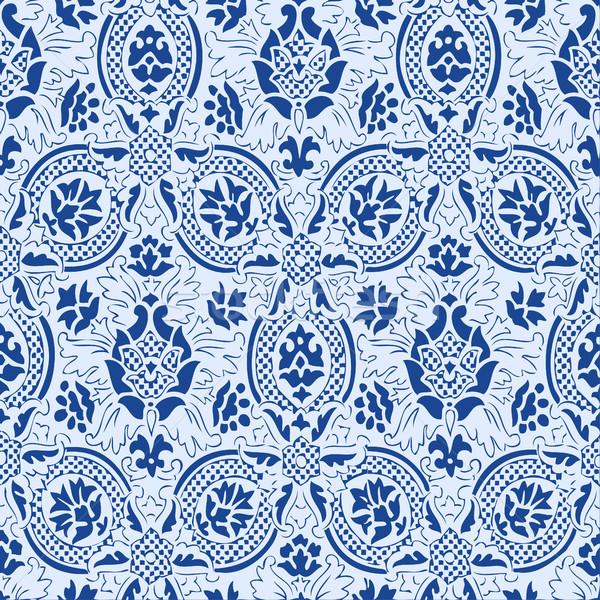 Niebieski koronki bezszwowy streszczenie kwiatowy wzór Zdjęcia stock © cosveta