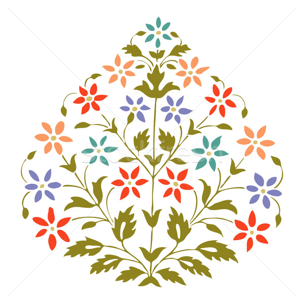 Vector color illustration symmetric flourishes plant with flowers and leaf on white background Stock photo © cosveta
