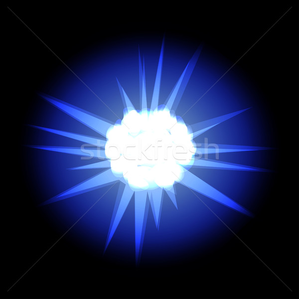 Star with rays white blue in space cosmos isolated on black back Stock photo © cosveta