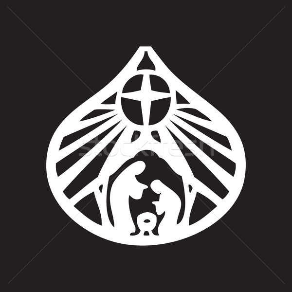 Holy family Christian silhouette icon vector illustration on bla Stock photo © cosveta