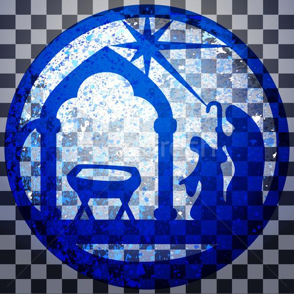 Rajongás sziluett ikon kék szürke átlátszó Stock fotó © cosveta